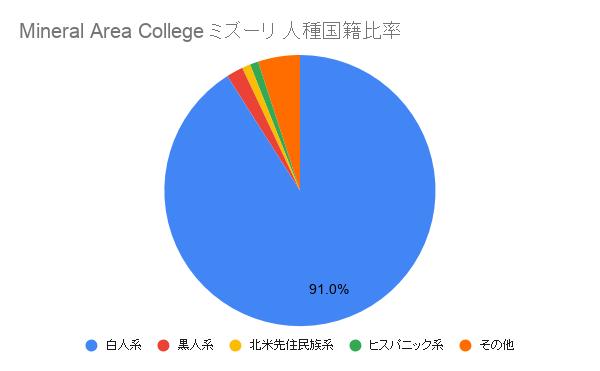 Mineral Area Collegeミズーリ国籍比率